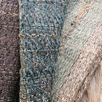 Wall hanging: mixed linen warp and recycled fancy yarns in weft