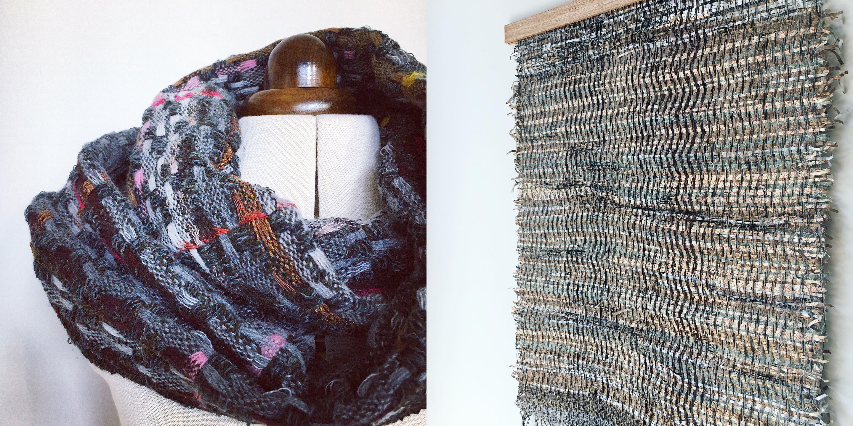 Handwoven scarf and wall art wall hanging