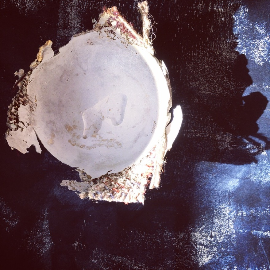 Fiberart woven textile and plaster bowl
