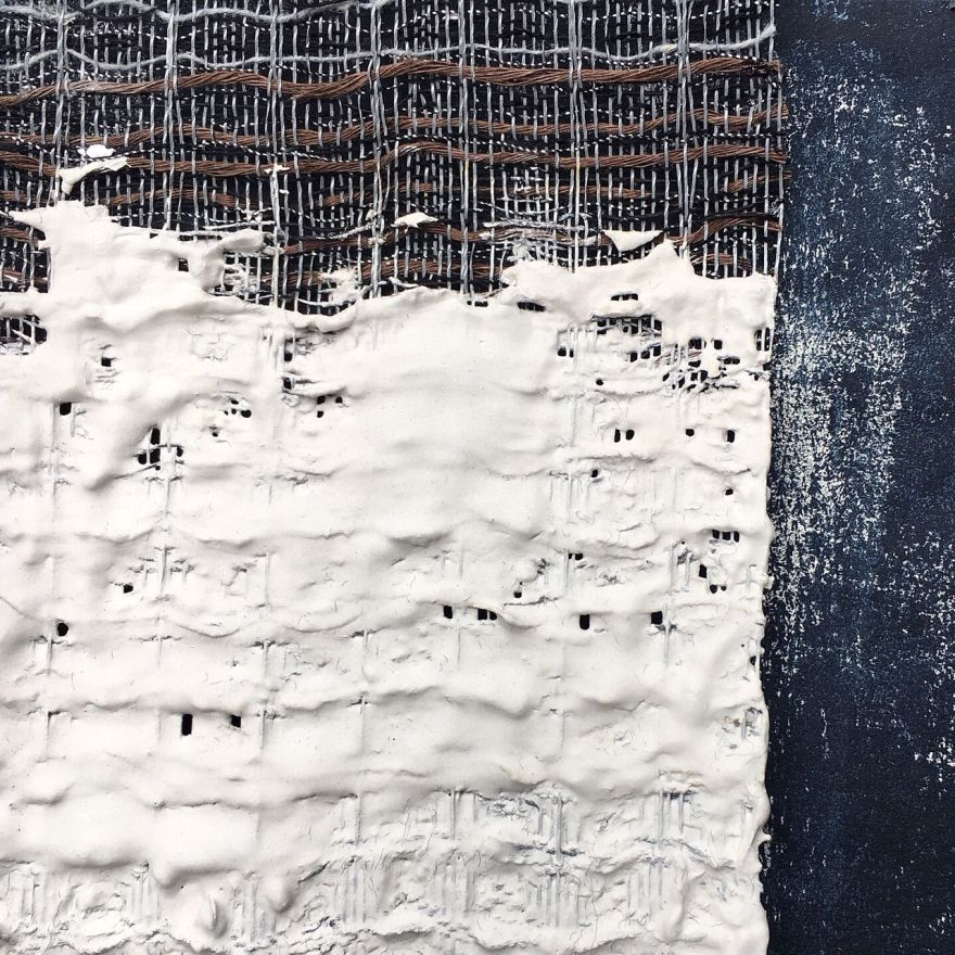 Fibreart woven textile in plaster