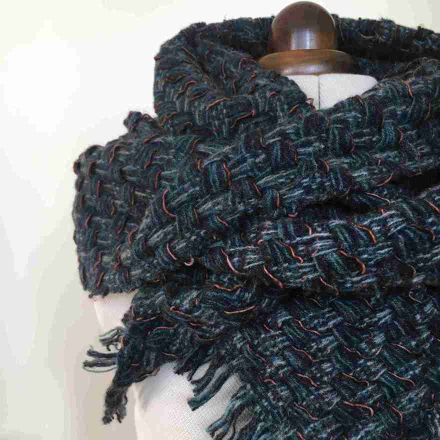 Handwoven blanket scarf deflected weave
