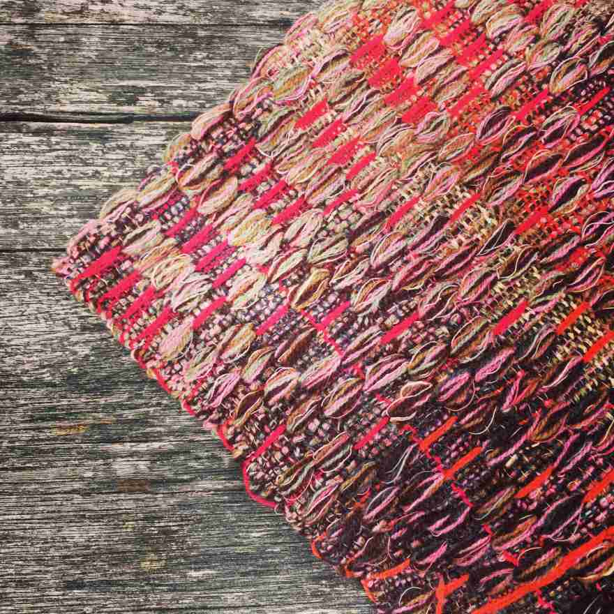 Handwoven deflected weave pink and brown