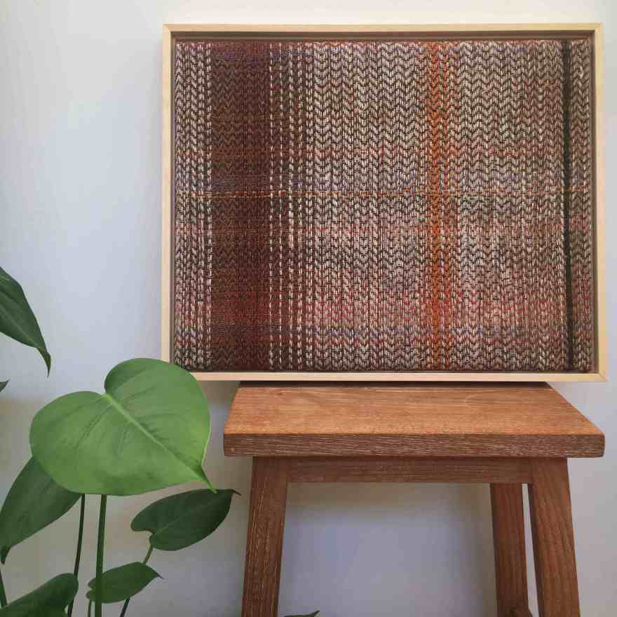 Handwoven fibreart brown wall panel