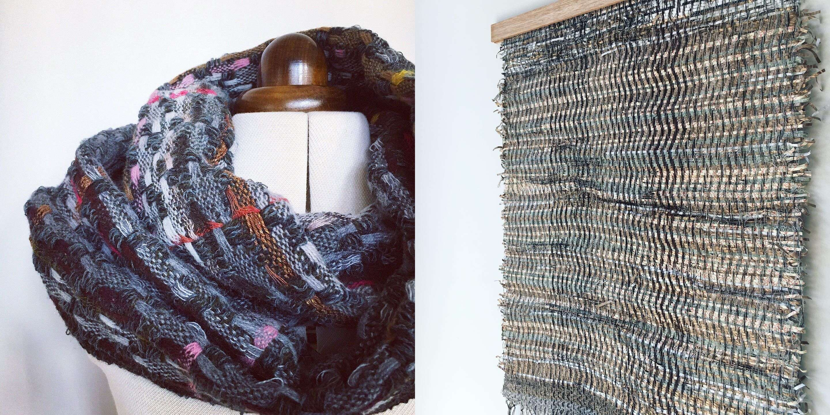 Handwoven scarf and fibreart cover 1