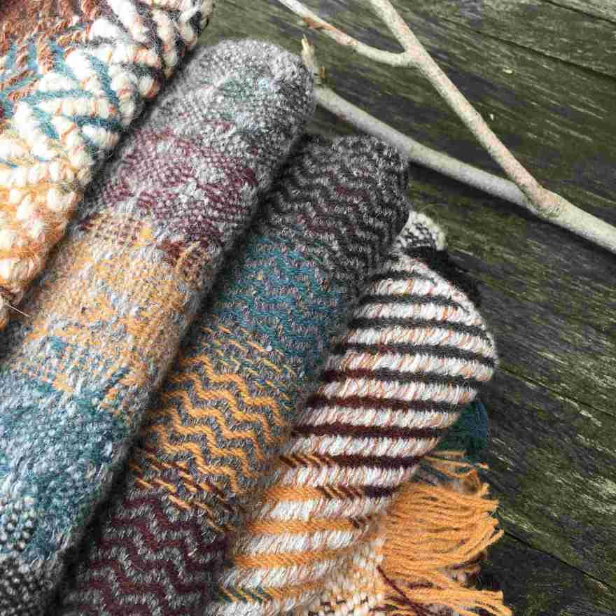 Handwoven scarves blue brown ochre