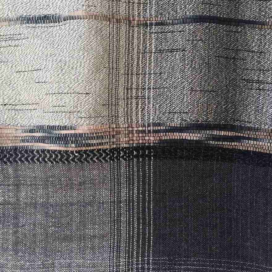 Handwoven textile art black and white
