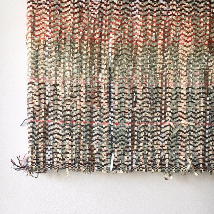 Handwoven wool and paper fibreart