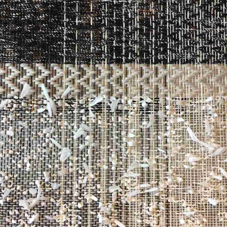 Textile art wall hanging black and white