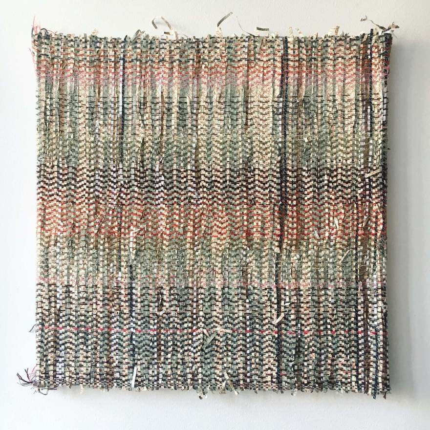 Textile art woven paper and wool