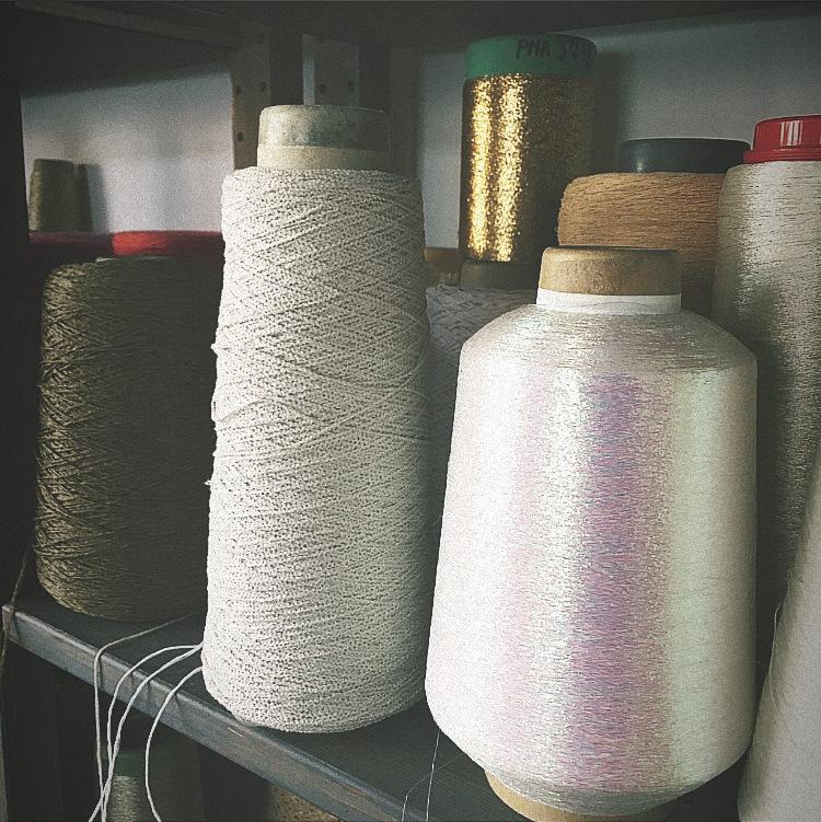 Studio view yarn cones