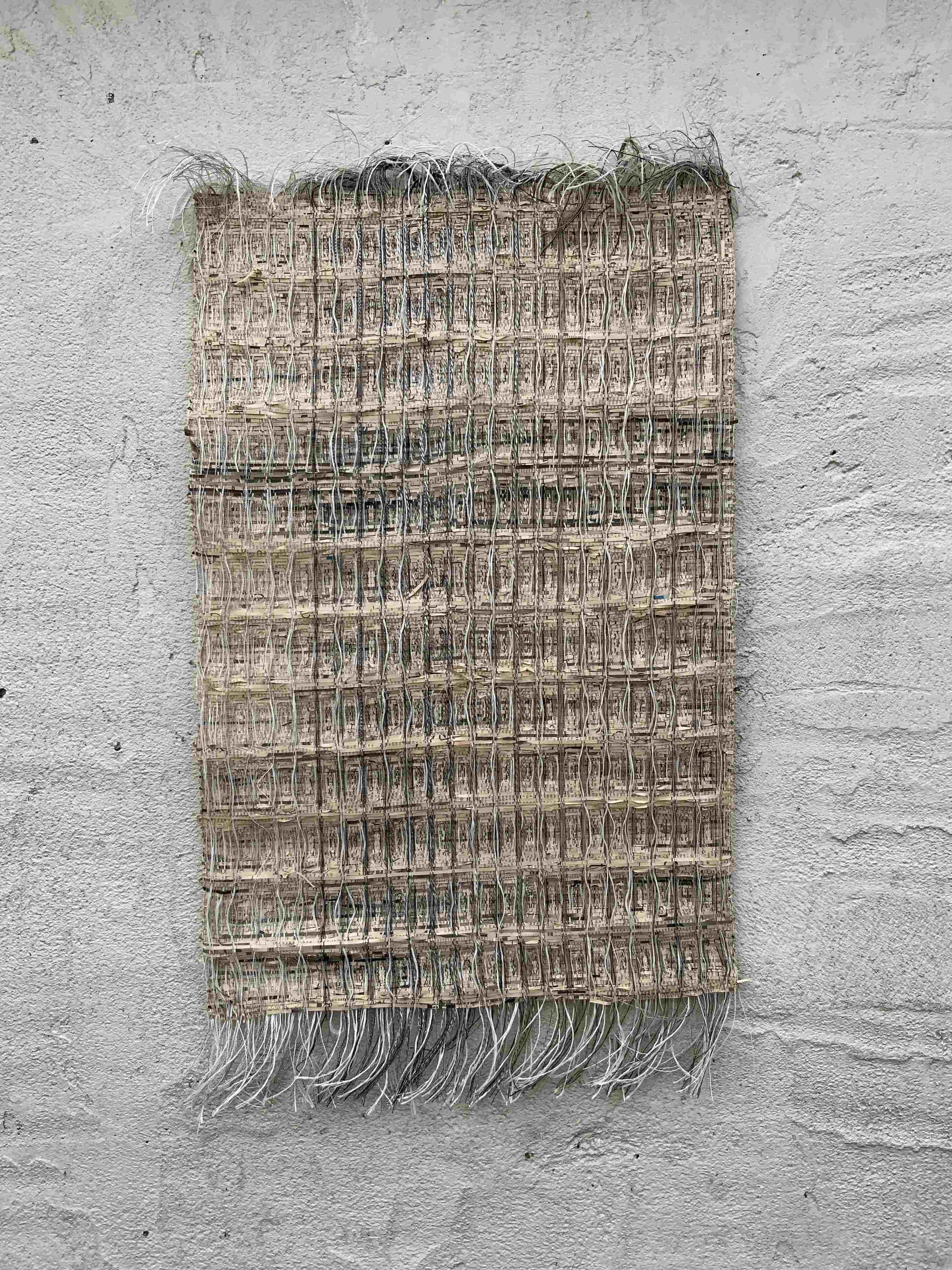 Woven paper wall art