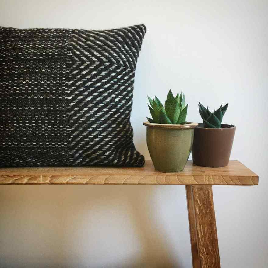 Natural brown woven cushion