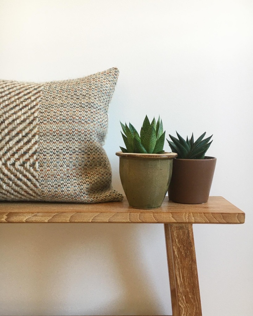 Natural ecru woven cushion