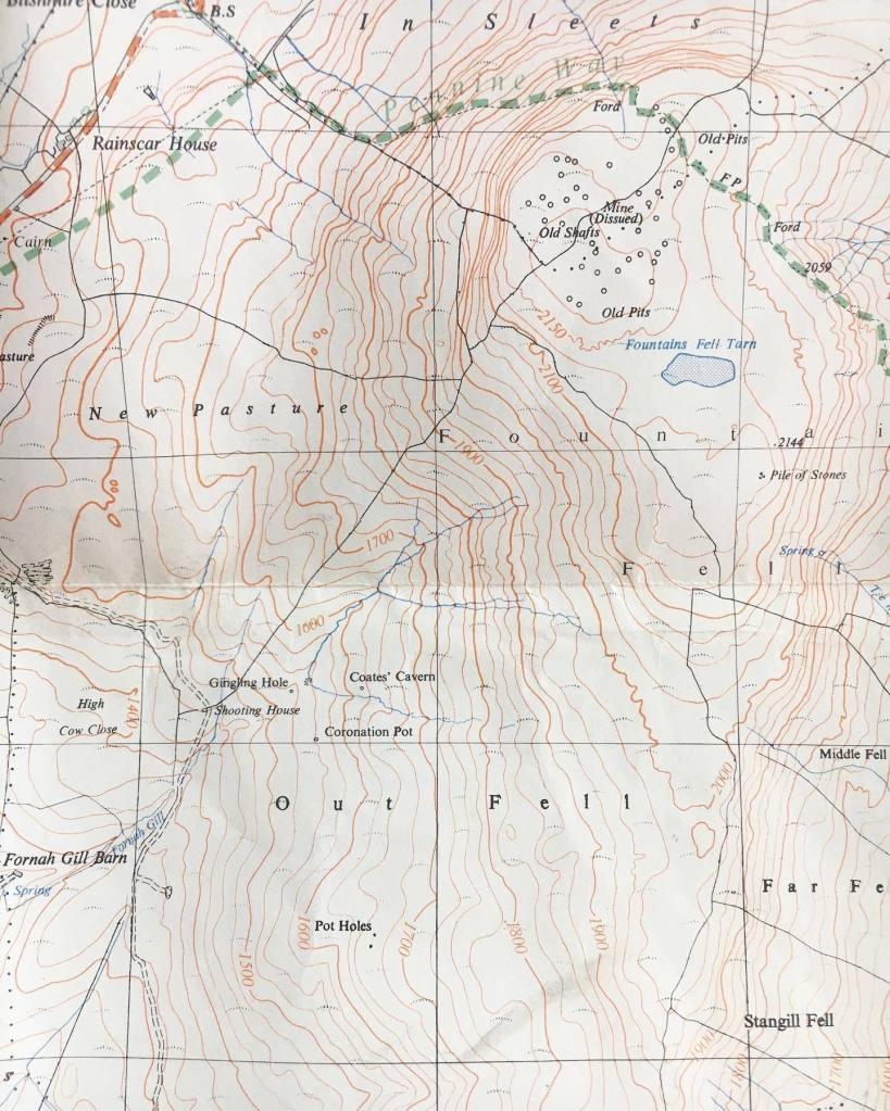 Ordnance survey map of three peaks