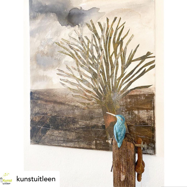 Vlietland mixed media on canvas with kingfisher sculpture