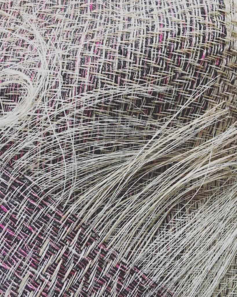 Handwoven linen silk lambswool scarf