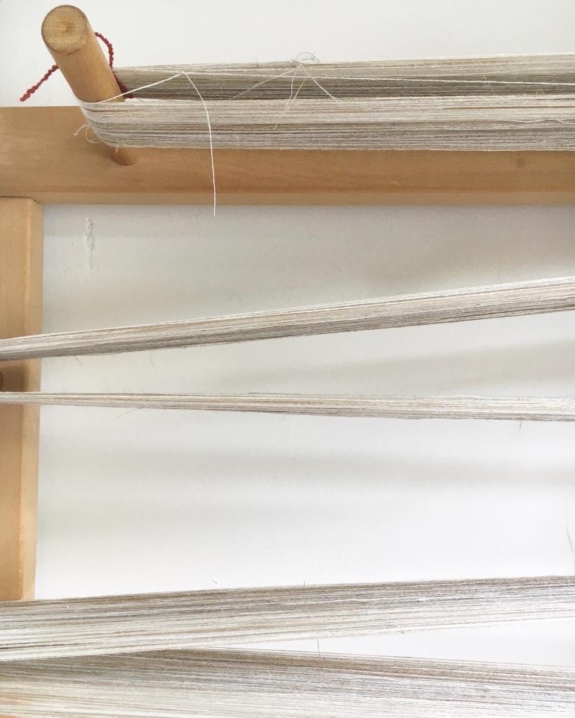 Linen warp on frame