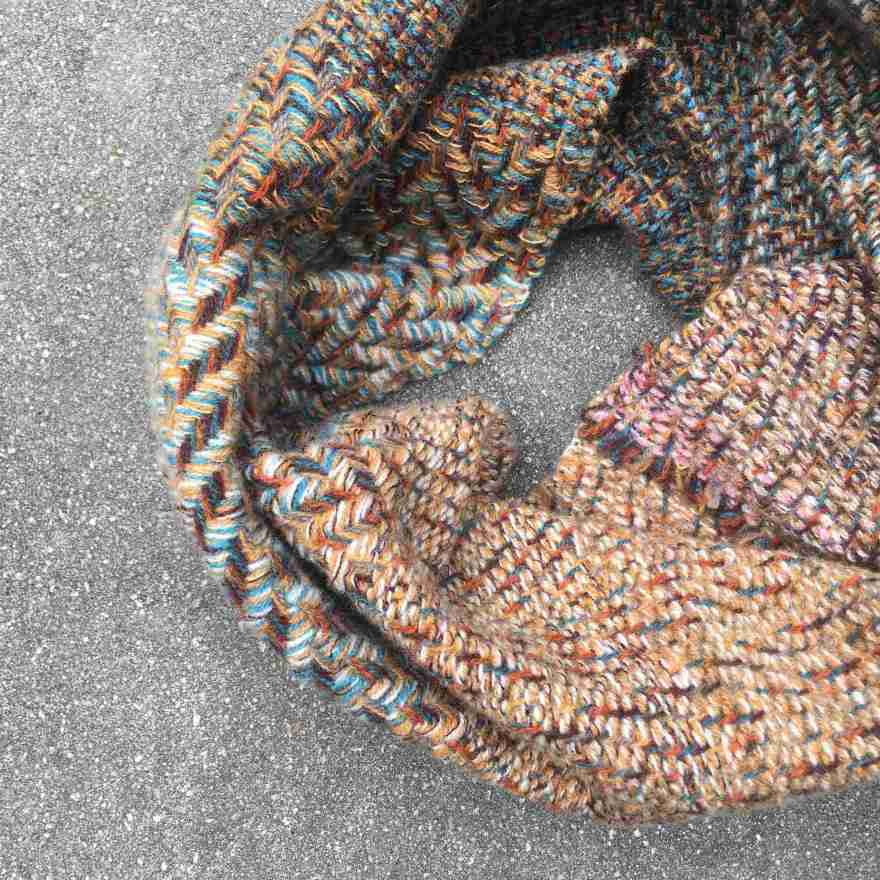 Cowl scarf blue and ochre detail