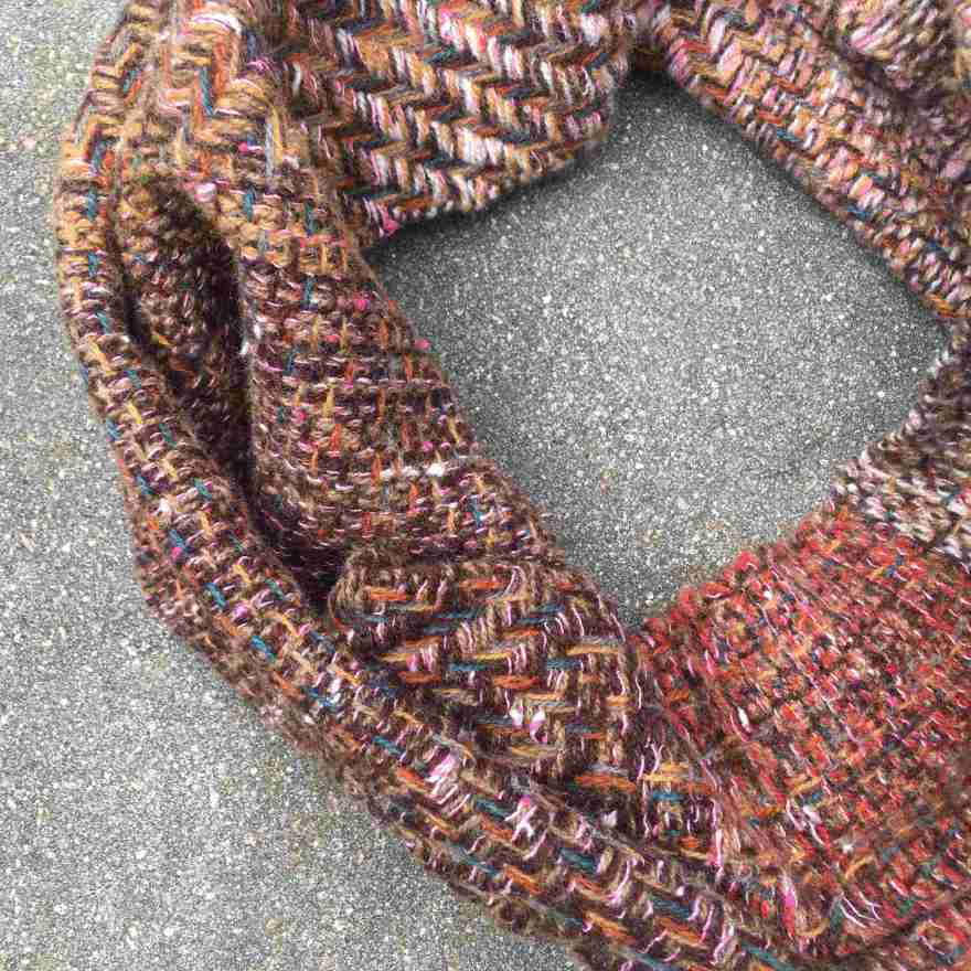 Cowl scarf reds and browns