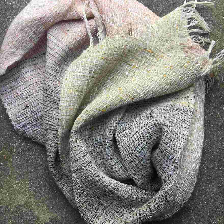 Linen, lambswool and shantung silk scarf