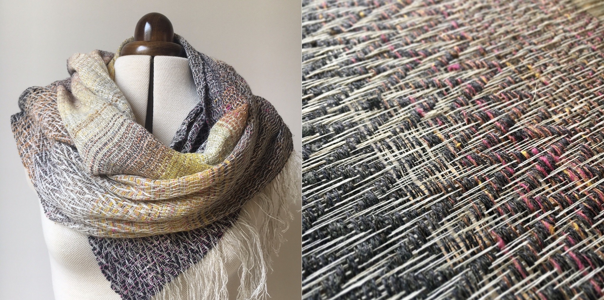 Handwoven linen, lambswool and silk scarf and detail