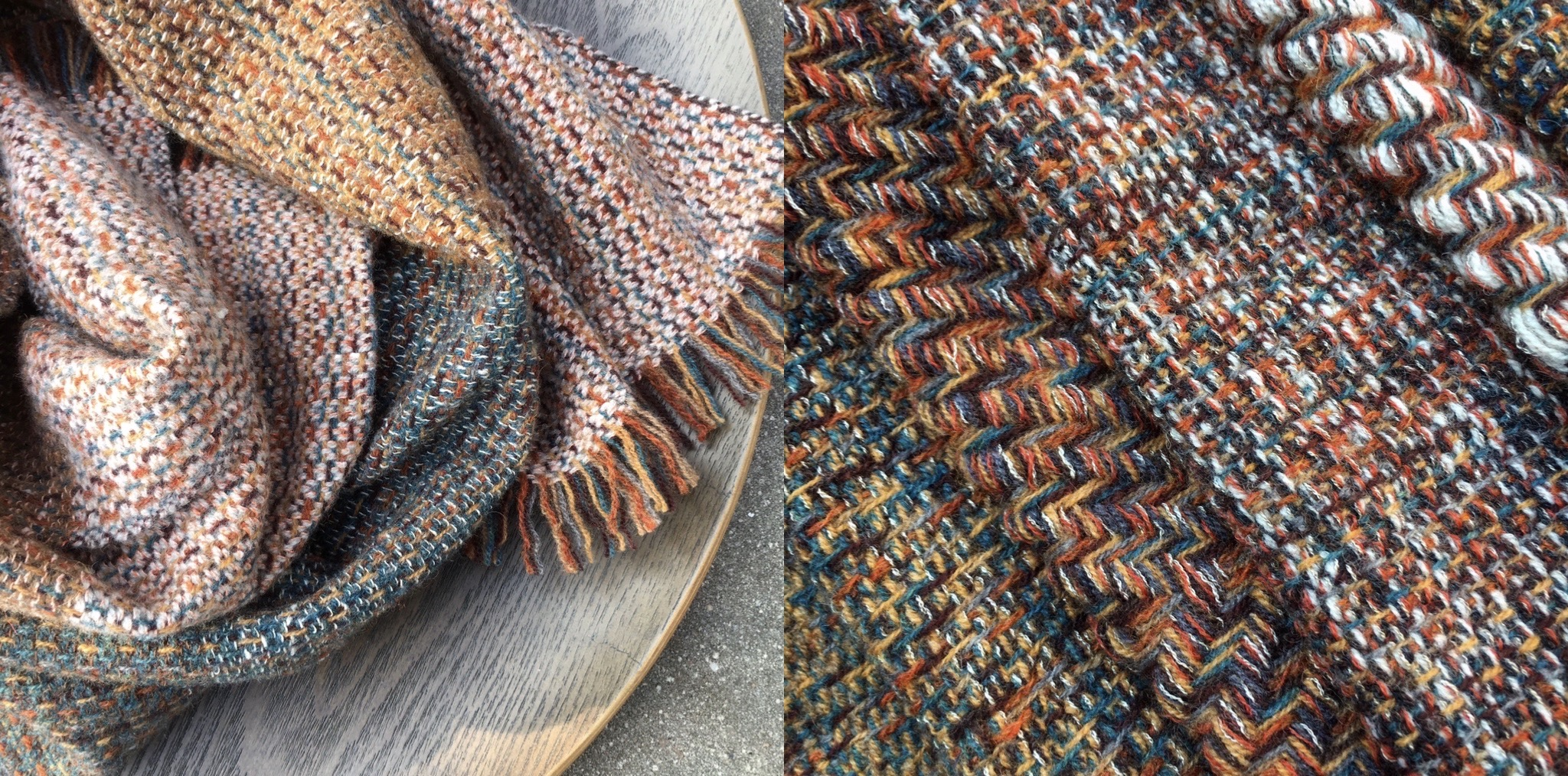 Handwoven scarves inspired by local landscape