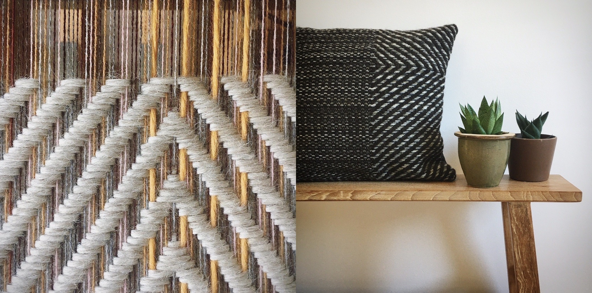 Locally sourced wool cushion and work on the loom