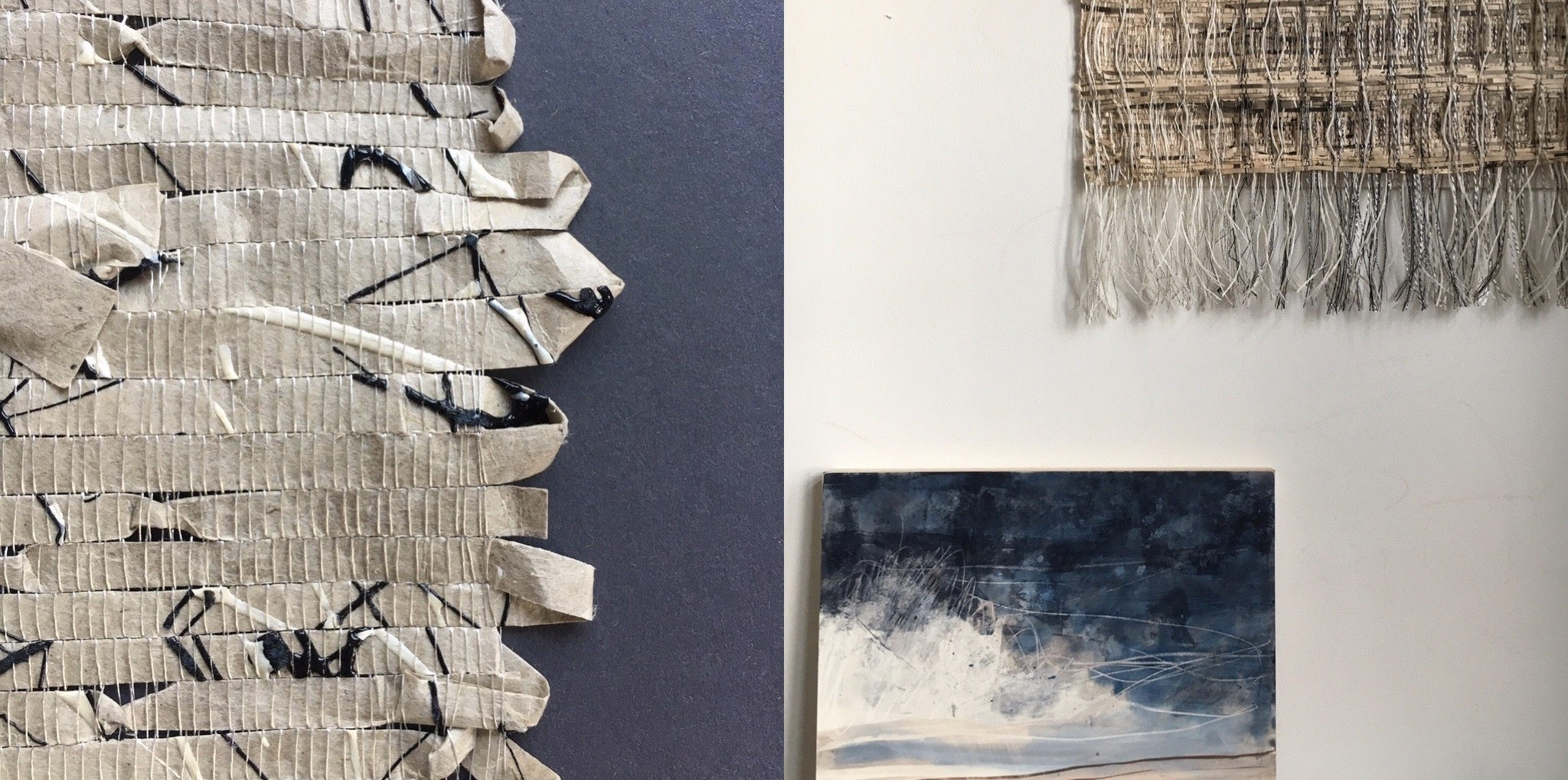 Handwoven paper (detail) and woven wallhanging with mixed media art