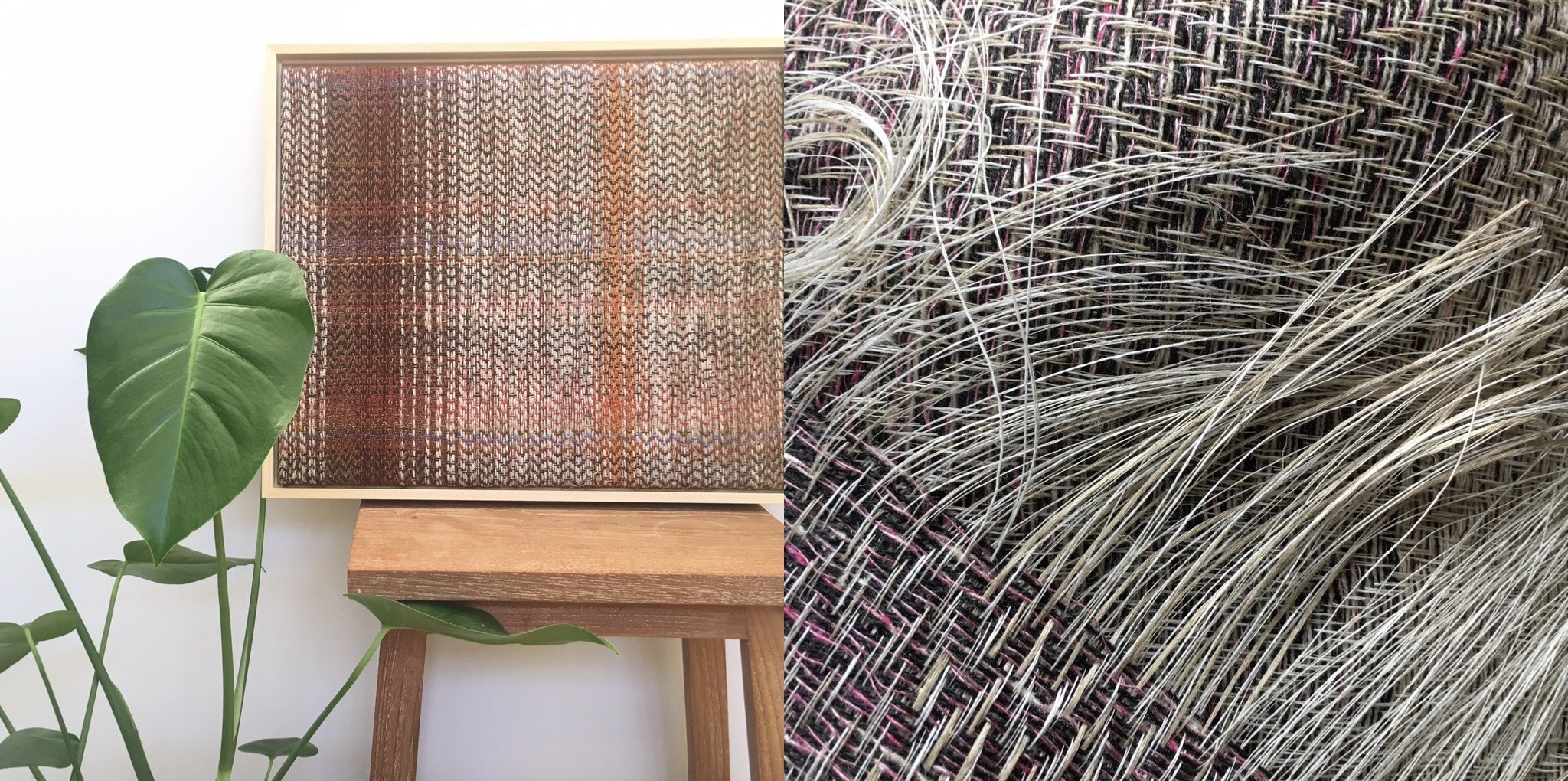 Woven wall art and linen and lambswool scarf