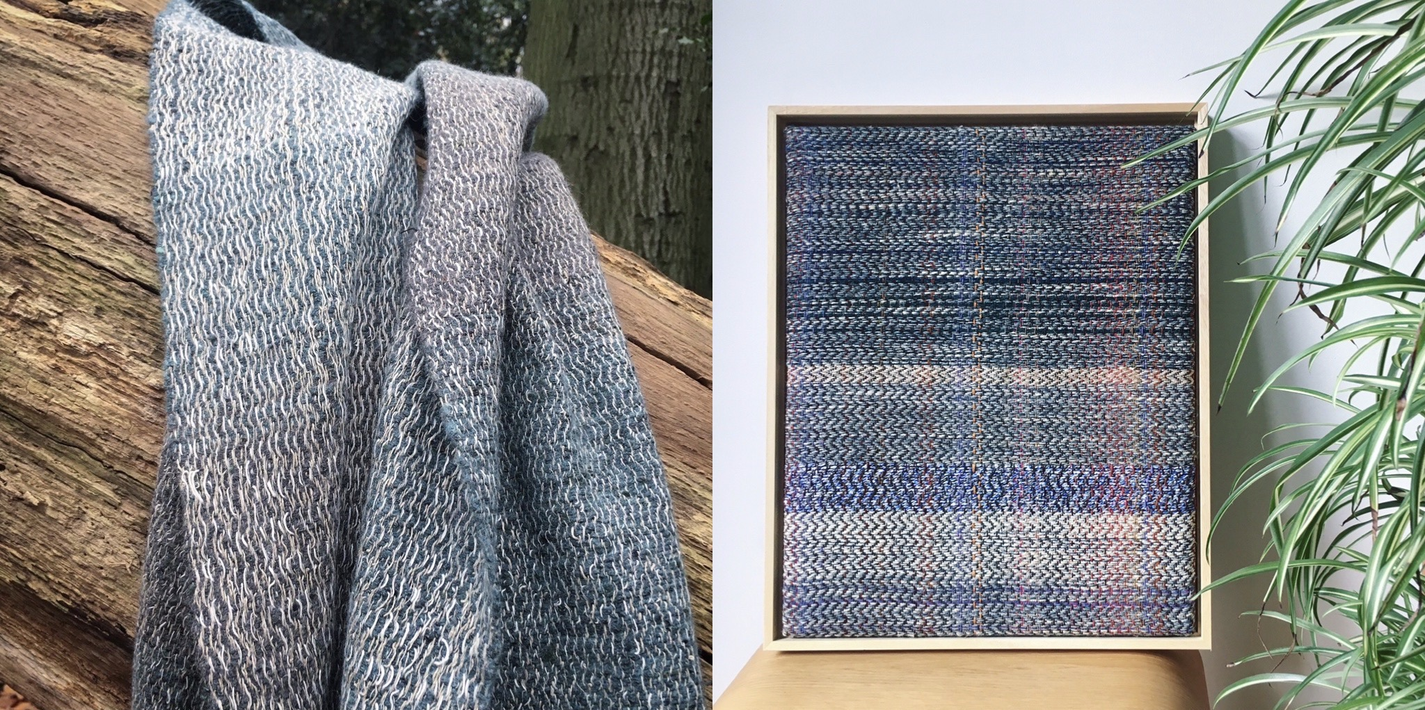 Handwoven linen and lambswool scarf and woven wall art