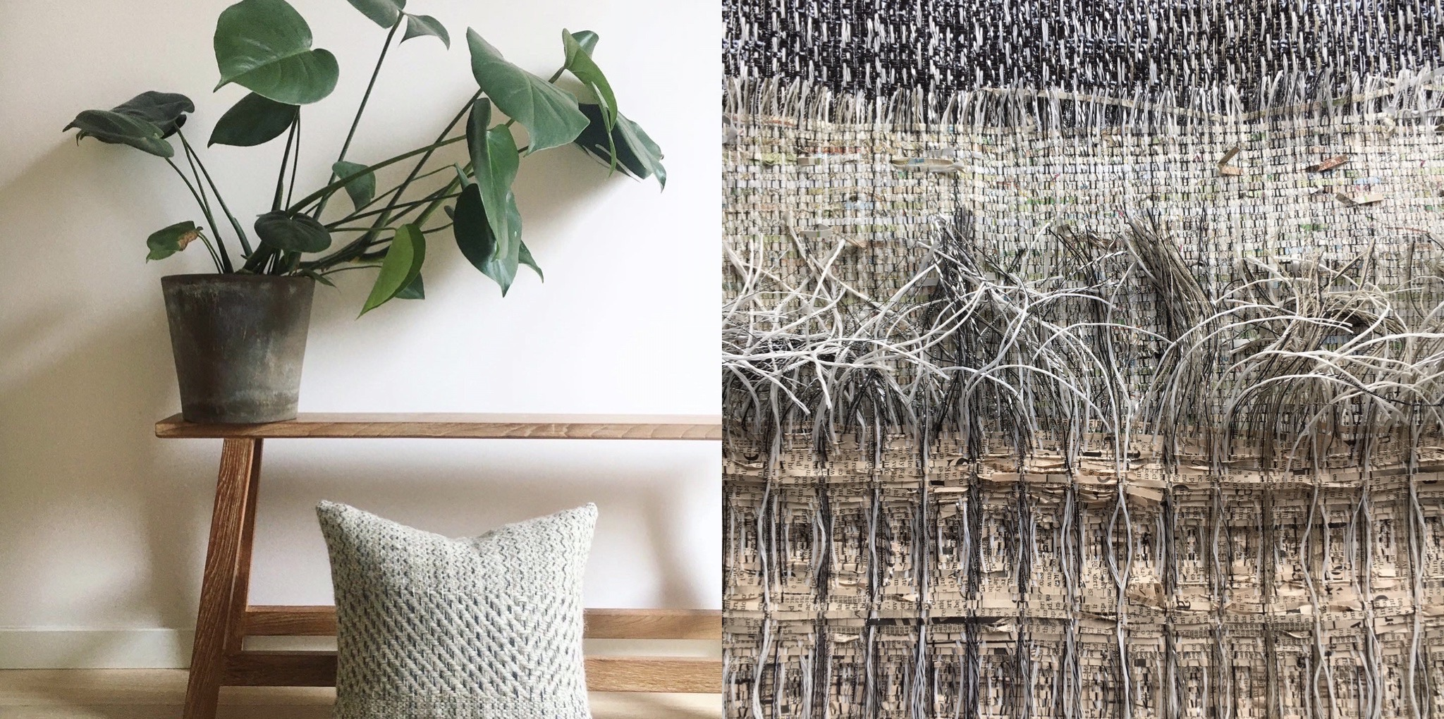 Local wool cushion and paper woven wallhangings
