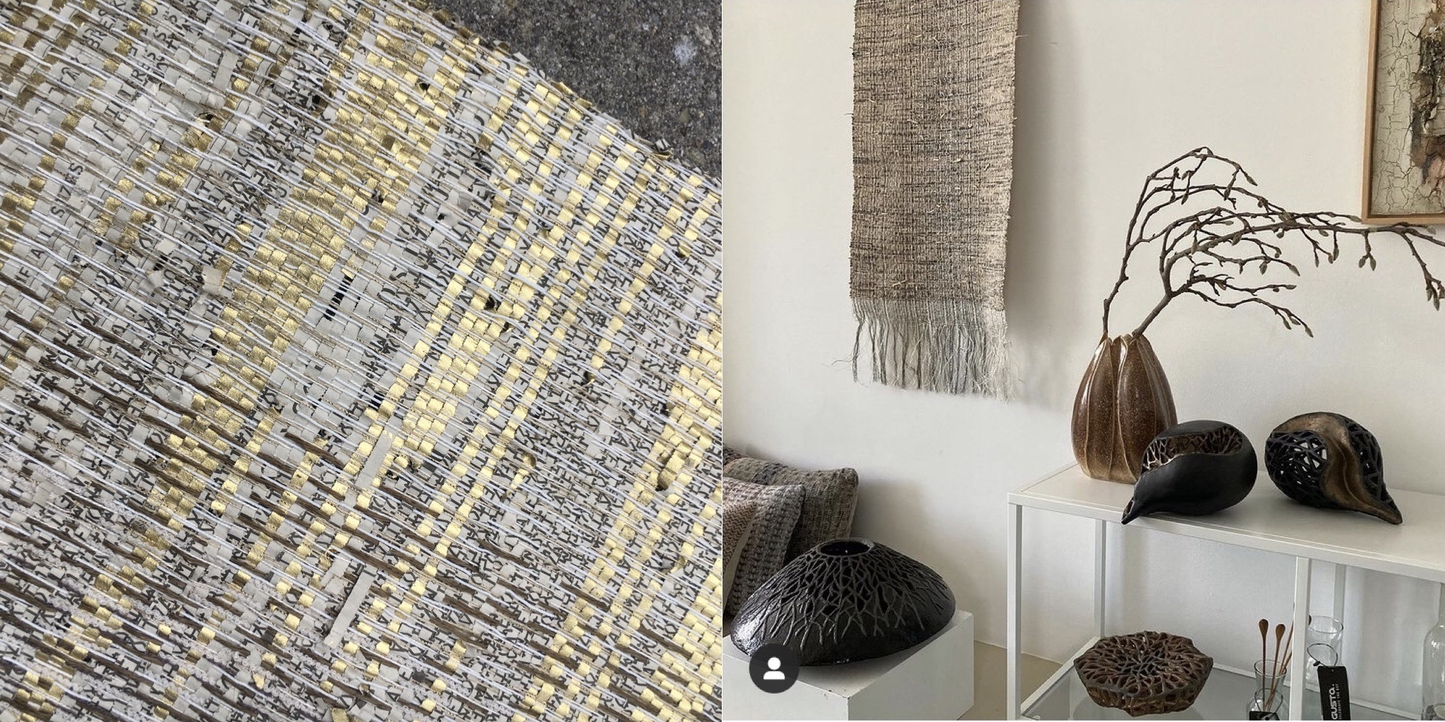 Handwoven vintage newspaper and interior showing woven wallhanging